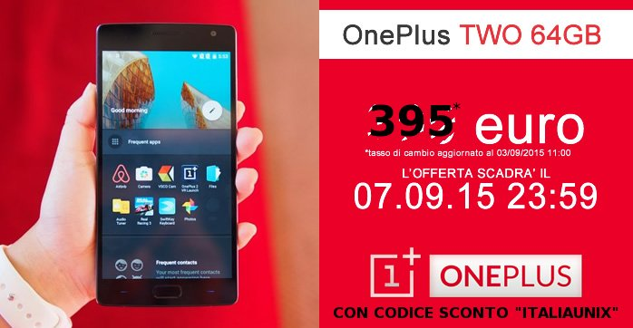 OnePlus Two 64GB smartphone SENZA INVITO 395 euro