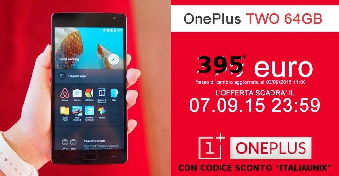 OnePlus Two 64GB smartphone SENZA INVITO 395 euro