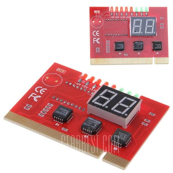 offertehitech-PCI 2Bits Double-sided Displayed with Light Diagnosis Card for Desktop -Red