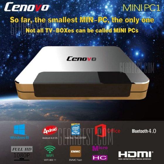 italiaunix-Cenovo Mini PC TV Box 32 Bit Quad Core Intel Z3735F Bluetooth 4.0 Windows 10 Android 4.4 2GB RAM 32GB ROM for Gaming / Internet Surfing / Conference