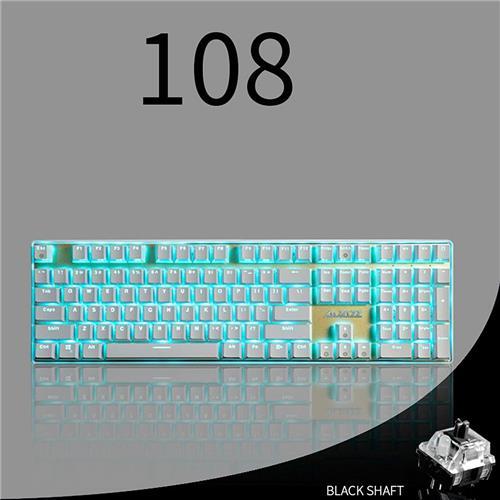 italiaunix-Ajazz AK33I Gaming Mechanical Keyboard Black Switch 108 Keys No Conflict USB Jack with Backlit Multimedia Keys - White