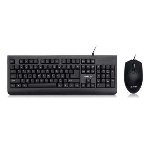 italiaunix-Ajazz X1180 Wired Membrane Keyboard + Mouse Kit Waterproof Laser Curving Cap Anti-abrasion 1000 DPI Mouse Office Supply - Black