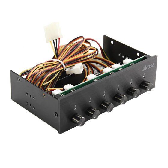 italiaunix-Akasa AK-FC-08BKV2 FC.SIX Brushed Aluminium Panel Fan Controller - Black
