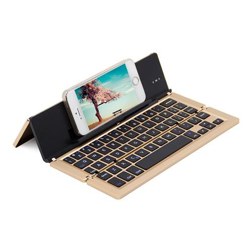 italiaunix-F18 Wireless Bluetooth Triple-folding Ultra-thin Keyboard Broadcom Decoder 65 Keys for iOS/Android/Windows - Gold