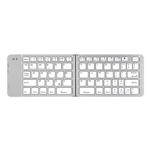 italiaunix-F88 Foldable Wireless Bluetooth Keyboard 65 Keys for iOS/Android/Windows - Silver
