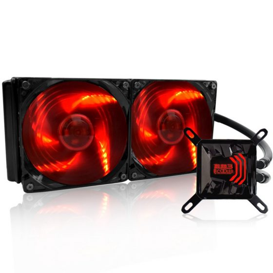 italiaunix-Pccooler Billow 240 CPU Water Cooling Fan Temperature Controller With LED Red Light 120mm * 2 Fan - Red + Black