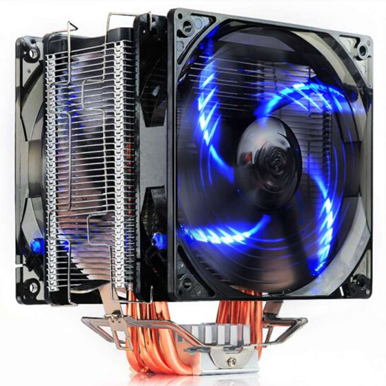 italiaunix-Pccooler Donghai X6 CPU Cooler Fan 4 Pins Blue Lights With 5 Heat Pipes Dual Fans - Black