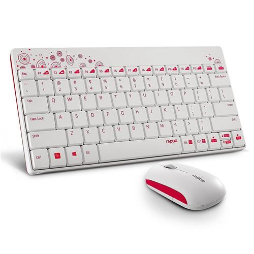 italiaunix-Rapoo 8000 Wireless Keyboard & Mouse Set 2.4G Compact 1 Year Standby for Computer Android Smart TV - White