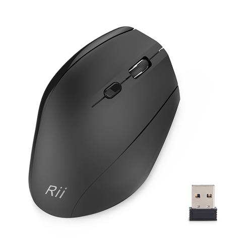 italiaunix-Rii RM-300 Optical Wireless Mouse 6 Buttons With DPI Switch Vertical Mouse For Computer PC Laptop - Black