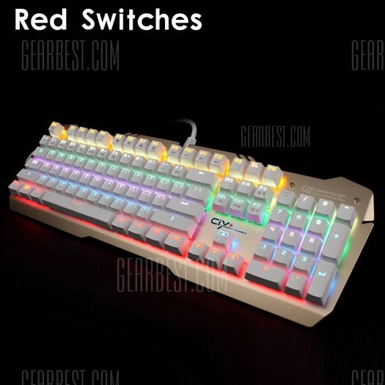 italiaunix-Team Wolf X06S NKRO CIY Wired USB Mechanical with LED Indicator WHITE KEYCAP + RED SWITCHES