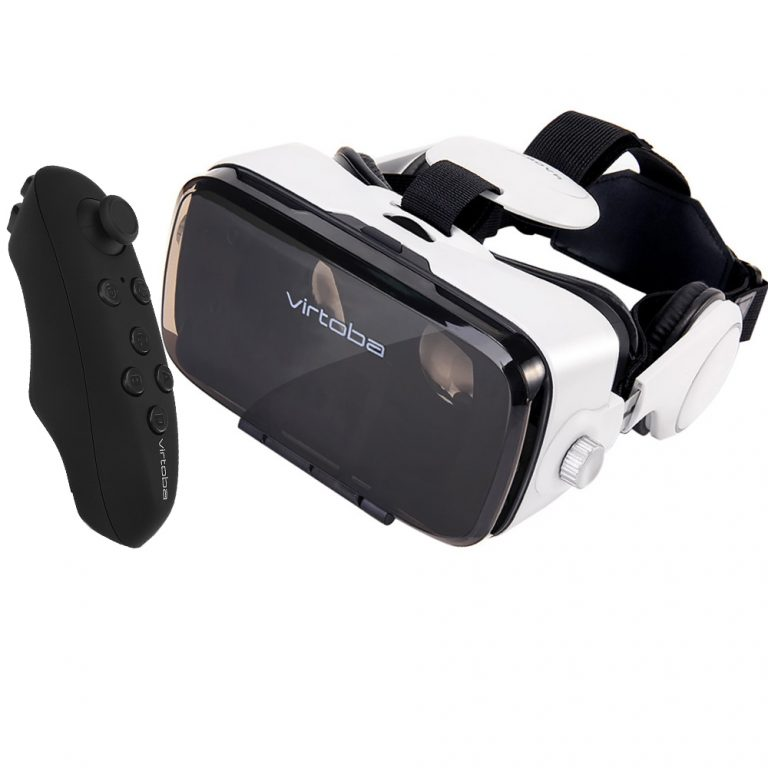 italiaunix-Virtoba X5 VR Box 3D VR Virtual Reality Headset 120 Degrees FOV Immersive 3D Movie Video Game Headset with Bluetooth Gamepad Headphone for 4-6 Inch Smartphone