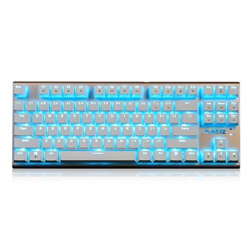 italiaunix-Ajazz AK40 Wired Mechanical Gaming Keyboard Blue Switch Full Keys No Conflict Blue Backlight 87 Keys - White