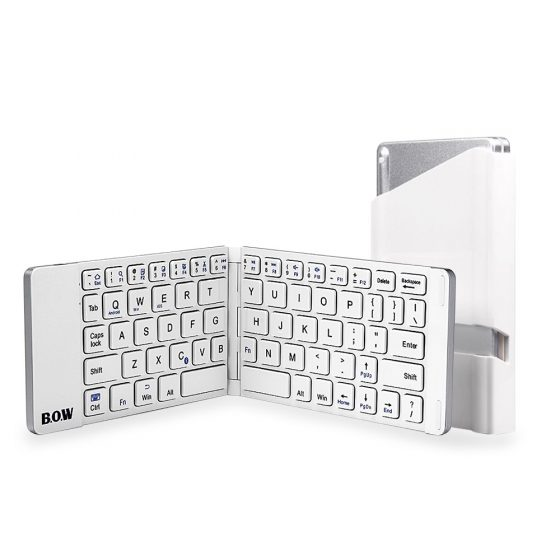 italiaunix-B.O.W Aluminum Foldable Bluetooth Wireless Keyboard for iOS Android Windows Device - White