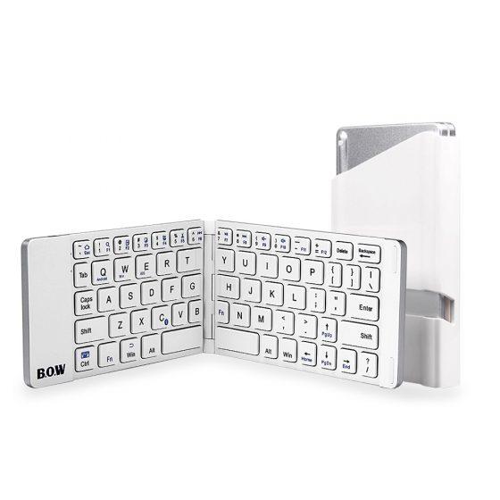 italiaunix-B.O.W Aluminum Foldable Bluetooth Wireless Keyboard for iOS Android Windows Device - White