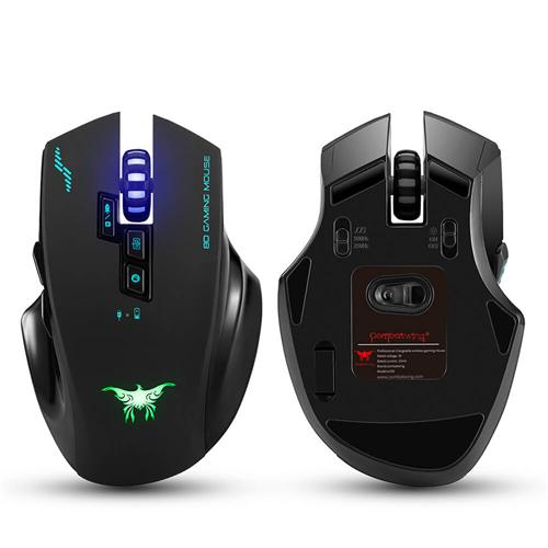 italiaunix-Combaterwing W100 2.4GHz Wireless & Wired Gaming Mouse 2400DPI 3 Colors Breathing Light - Black