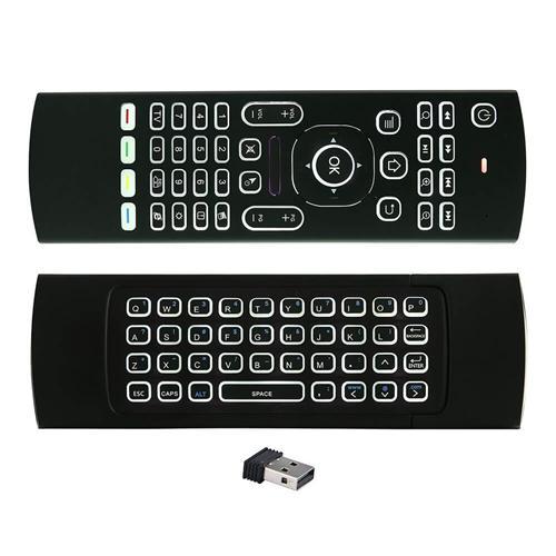 italiaunix-MX3 2.4G Kodi Remote Backlit Mini Wireless Keyboard Air Mouse for Android TV Box IPTV HTPC Mini PC