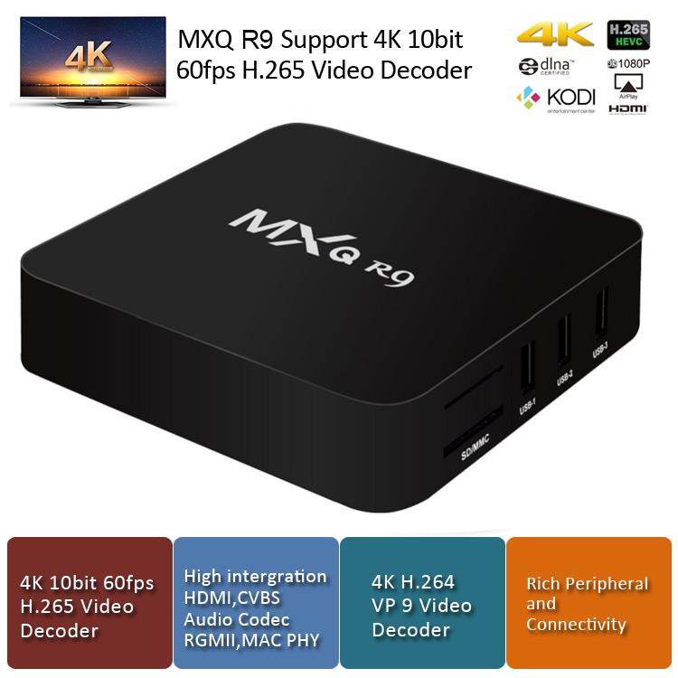 italiaunix-MXQ R9 RK3229 KODI Preinstalled Smart TV Box Android 4.4.4 1GB/8GB H.264/H.265 10Bit WIFI LAN HDMI DLNA AirPlay Miracast
