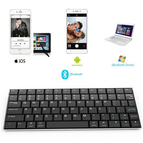 italiaunix-Rii Mini i9 Bluetooth Keyboard for iPad iPhone Android MID Metal - Black