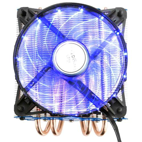 italiaunix-Segotep T4 CPU Cooling Fan Temperature Controller Colorful LED Light Version Durable Low Noise Horizontal Compression CPU Cooler - Blue