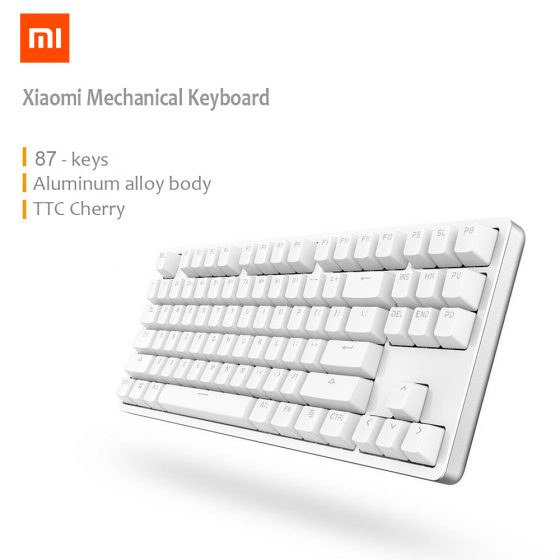 italiaunix-XIAOMI Mi Mechanical Keyboard 87 Keys Gaming Keyboard with Cherry Red Switches and LED Backlit - White
