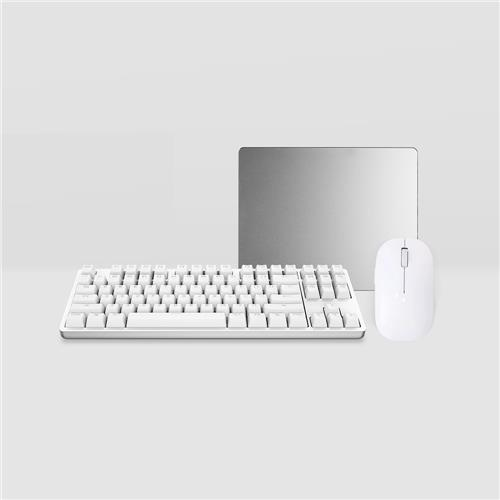 italiaunix-Original Xiaomi Yuemi Mechanical Keyboard + White Wireless Mouse + Metal Mouse Pad Office Kit - White