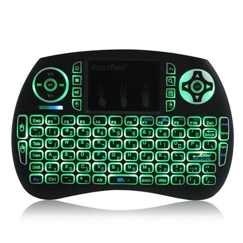 italiaunix-iPazzPort KP-810-21SDL Hebrew Mini 2.4G Wireless Backlit Plug and Play Keyboard - Black