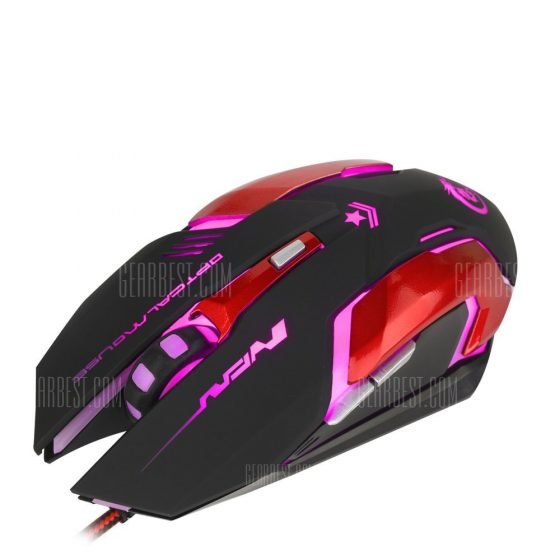 italiaunix-HXSJ H500 Wired LED Light Game Mouse with Six Buttons