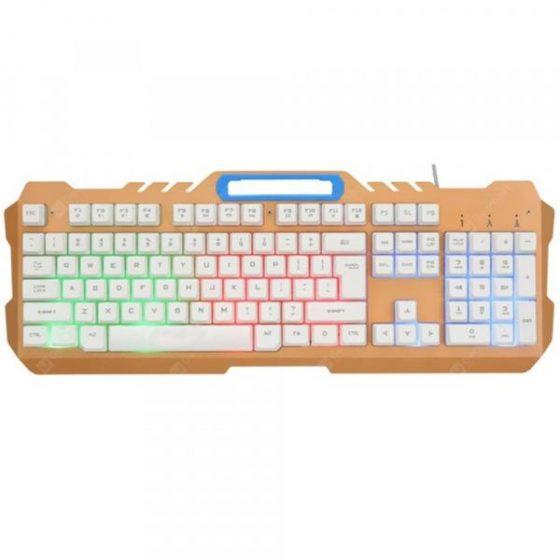 italiaunix-K21 USB Wired Metal Office Laptop Game Backlight Rainbow Keyboard  Gearbest