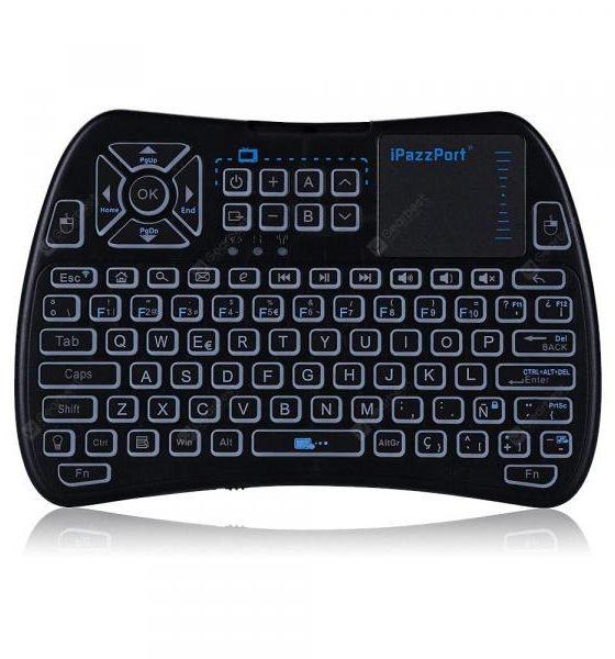 italiaunix-iPazzPort KP - 810 - 61 Wireless Mini Keyboard Backlight Function with Touchpad  Gearbest