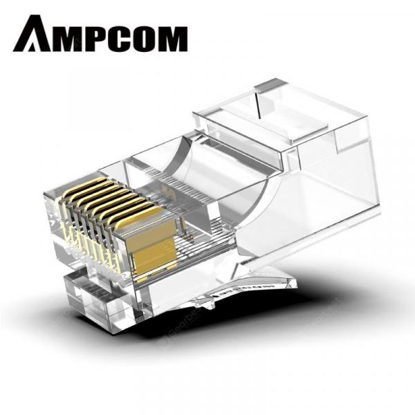 italiaunix-AMPCOM CAT5e Modular Plug Ethernet Cable RJ45 Connector 30u 50u gold-plated  Gearbest