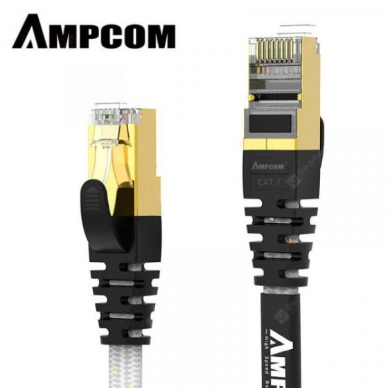 italiaunix-AMPCOM CAT7 Flat Ethernet Cable STP RJ45 Network Patch Cable 10Gbps 50u Gold Plate  Lan Cable  Gearbest