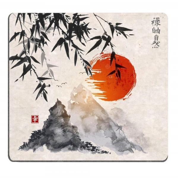 italiaunix-Japanese Bamboo Trees Sun and Mountains Mouse Pad  Gearbest