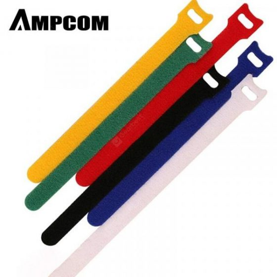 italiaunix-AMPCOM 6pcs Cable Tie T-type buckle Velcro Cable finishing tie Nylon Hook Loop stick6pcs  Gearbest