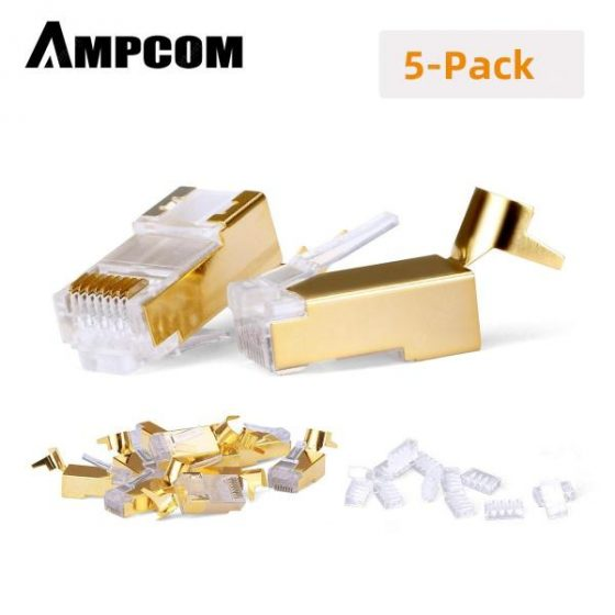 italiaunix-AMPCOM CAT7 Shielded 50U Gold Plated  RJ45 Modular Plug RJ 45 Connector for Ethernet Cable  Gearbest