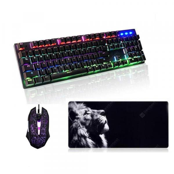 italiaunix-Mechanical Keyboard Mouse and Pad Kit Backlit Gamers for Desktop  Gearbest