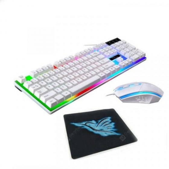 italiaunix-USB Wired Rainbow Backlit Gaming Keyboard Mouse and Pad Combos  Gearbest