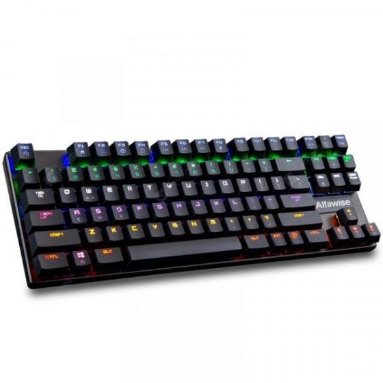 italiaunix-Alfawise K1 LED Backlit Mechanical Keyboard Blue Switch Gaming Keyboards-Aluminum Finish  Gearbest