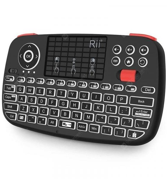 italiaunix-Rii i4 Mini Bluetooth Keyboard 2.4GHz Dual Modes Handheld Fingerboard Backlit  Gearbest