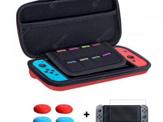 italiaunix-Storage Bag + Screen Tempered Glass Film + Thumb Stick Caps for Nintendo Switch  Gearbest