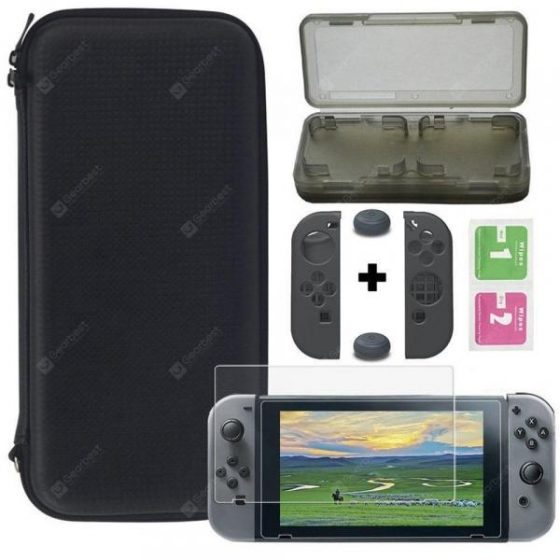 italiaunix-Black Portabable Travel Kit w/Pouch + Screen Protector for Nintendo Switch  Gearbest