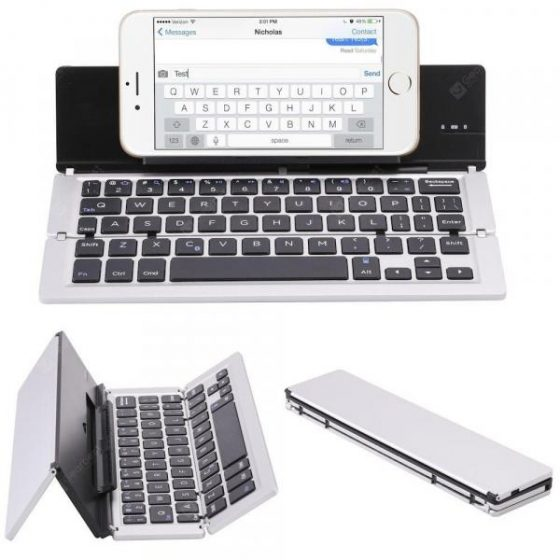 italiaunix-Portable Aluminum Folding Bluetooth Keyboard Foldable Compatible with iPhone  Gearbest