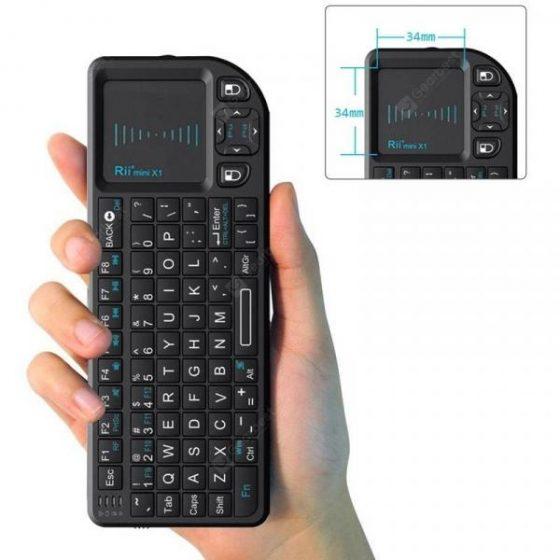italiaunix-Rii Mini X1 Wireless Keyboard 2.4G Flying Mouse Handheld Touchpad  Gearbest