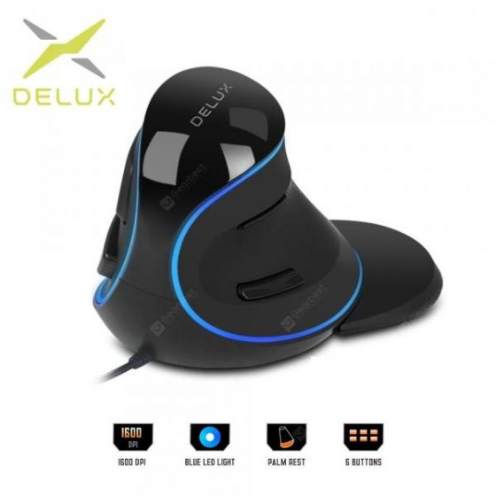 italiaunix-Delux M618 Plus Ergonomic Vertical wired Mouse 6 Buttons 1600 DPI Blue led light Computer mice  Gearbest