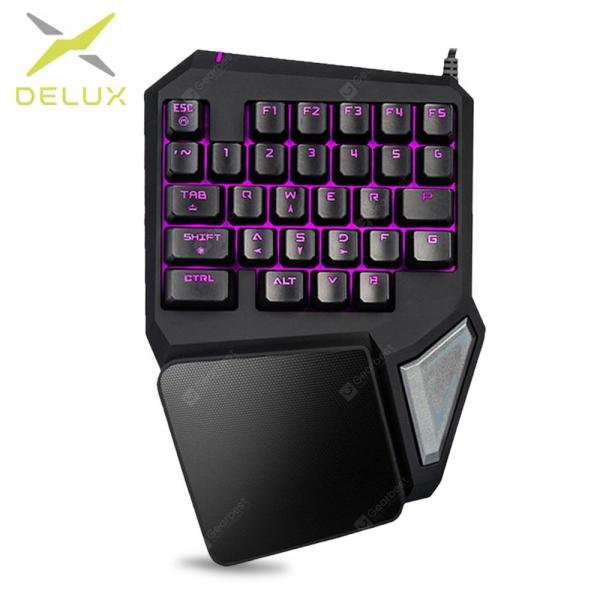 italiaunix-Delux T9 Pro Programmable Keys Single Handed Game keyboard one hand Ergonomic Gaming Keypad  Gearbest