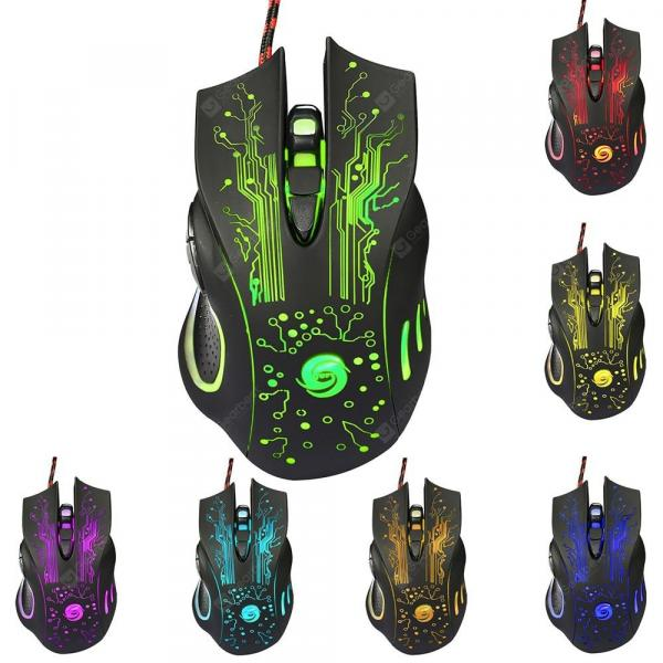 italiaunix-HXSJ A885 Wired USB Gaming Mouse with Colorful LED Light 5 Adjustable DPI Levels 6 Programmable Keys  Gearbest